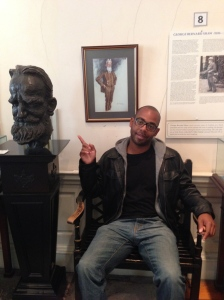 Me in front of the George Bernard Shaw display  at the museum of writers in Dublin.